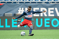 FOXBOROUGH, MA - APRIL 17: Luis Caicedo #27 of New England Revolution II during a game between Richmond Kickers and Revolution II at Gillette Stadium on April 17, 2021 in Foxborough, Massachusetts.