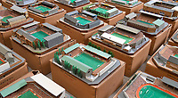 BNPS.co.uk (01202 558833)<br /> Pic: Zachary Culpin/BNPS<br /> <br /> Pictured: Bournemouth's old Dean Court ground<br /> <br /> An incredible collection of model football stadiums handmade by a soccer fan have sold for almost £19,000 after being found in a storage unit.<br /> <br /> Model-maker John Le Maitre created miniature versions of all 92 English Football League club grounds from the 1980s, as well as the old Wembley Stadium.<br /> <br /> They featured on a Blue Peter episode that year and are a throwback to a bygone age when football grounds with their banks of terraces looked very different to today's super stadiums.