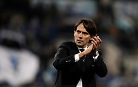 Calcio, Serie A: Lazio - Udinese, Roma, stadio Olimpico, 24 gennaio 2018.<br /> Lazio's coach Simone Inzaghi celebrates after winning 3-0 the Italian Serie A football match between Lazio and Udinese at Rome's Olympic stadium, January 24, 2018.<br /> UPDATE IMAGES PRESS/Isabella Bonotto