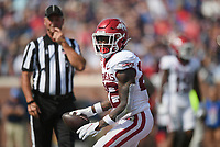 Arkansas running back Trelon Smith (22) carries the ball for a score, Saturday, October 9, 2021 during the second quarter of a football game at Vaught Hemingway Stadium in Oxford, Miss. Check out nwaonline.com/211010Daily/ for today's photo gallery. <br /> (NWA Democrat-Gazette/Charlie Kaijo)