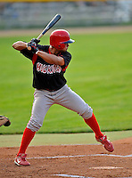 7 July 2008: Batavia Muckdogs' outfielder Edwin Gomez in action against the Vermont Lake Monsters at Centennial Field in Burlington, Vermont. The Lake Monsters defeated the Muckdogs 3-2 in the final game of their 3-game series...Mandatory Photo Credit: Ed Wolfstein Photo