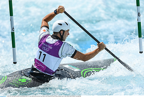 Liam Jegou picked up a missed gate penalty in the Men's C1 Canoe Slalom heats at the Kasai Canoe Slalom Centre