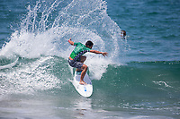 Huntington Beach, CA - Tuesday July 31, 2018: Mihimana Braye in action during a World Surf League (WSL) Qualifying Series (QS) Men's round of 96 heat at the 2018 Vans U.S. Open of Surfing on South side of the Huntington Beach pier.