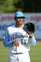 Myrtle Beach Pelicans pitcher Francisco Mendoza #15 throwing before a game against the Wilmington Blue Rocks at Tickerreturn.com Field at Pelicans Ballpark on April 8, 2012 in Myrtle Beach, South Carolina. Wilmington defeated Myrtle Beach by the score of 3-2. (Robert Gurganus/Four Seam Images)