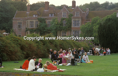 Glyndebourne Festival Opera Sussex. Picnic group. The English Season published by Pavilon Books 1987