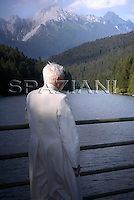 Private walk of Pope Benedict XVI during his summer vacation,. looks at the 'Centro Cadore' lake in Domegge, Lorenzago di Cadore, in Italy's Dolomite mountains...July 23, 2007...