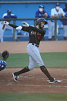 Dariel Gomez (43) of the Modesto Nuts bats against the Rancho Cucamonga Quakes at LoanMart Field on May 14, 2021 in Rancho Cucamonga, California. (Larry Goren/Four Seam Images)