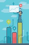 Illustrative image of businessman on bar graph giving presentation representing profit