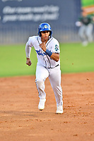 Asheville Tourists Yainer Diaz (16) runs to third base during a game against the Greensboro Grasshoppers on August 24, 2021 at McCormick Field in Asheville, NC. (Tony Farlow/Four Seam Images)