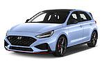 2021 Hyundai i30 N-Performance 5 Door Hatchback Angular Front automotive stock photos of front three quarter view