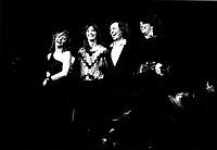 1985 File Photo  - DU GRAMOPHONE AU LASER Musical review with (Left to Right) : <br /> <br /> Louise Portal,<br /> Nanette Workman,<br /> Jean-Pierre Ferland,<br /> Marie-Claire Seguin,PHOTO D'ARCHIVE :  Agence Quebec Presse