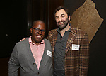 Michael R. Jackson and Christopher Shinn attends the Vineyard Theatre Paula Vogel Playwriting Award honoring Jeremy O. Harris on October 12, 2018 at the National Arts Club in New York City.