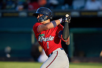 Fort Myers Miracle Royce Lewis (1) bats during a Florida State League game against the Bradenton Marauders on April 23, 2019 at LECOM Park in Bradenton, Florida.  Fort Myers defeated Bradenton 2-1.  (Mike Janes/Four Seam Images)