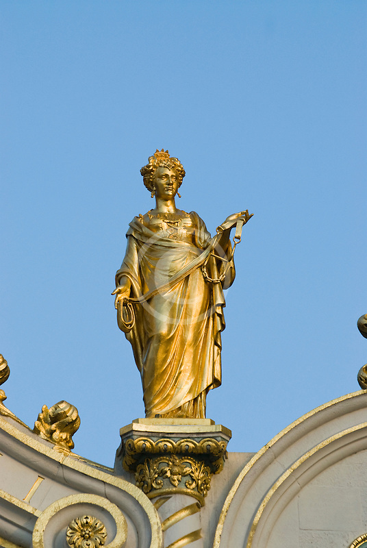 Belgium, Bruges, City Hall, architectural detail, gilded statue