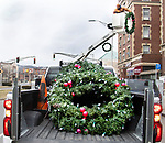 WATERBURY CT. - 09 January 2020-011121SV08-Holiday season comes to an end as street crews take down the decorations on West Main Street in Waterbury Monday. <br /> Steven Valenti Republican-American