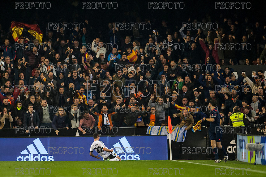 VALENCIA, SPAIN - DECEMBER 5: Santi Mina celebrating his goal during BBVA LEAGUE match between Valencia C.F. and FC Barcelona at Mestalla Stadium on December 5, 2015 in Valencia, Spain