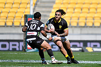 Peter Umaga-Jensen of Wellington runs with the ball during the Bunnings NPC - Wellington v Hawke's Bay at Sky Stadium, Wellington, New Zealand on Sunday 26 September 2021.<br /> Photo by Masanori Udagawa. <br /> www.photowellington.photoshelter.com
