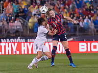 EAST HARTFORD, CT - JULY 1: Samantha Mewis #3 of the USWNT heads the ball during a game between Mexico and USWNT at Rentschler Field on July 1, 2021 in East Hartford, Connecticut.
