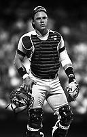 Jim Leyritz of the New York Yankees at Anaheim Stadium in Anaheim,California during the 1996 season. (Larry Goren/Four Seam Images)