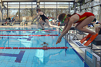 Marlene Haas, Chantal Krämer, Marlene Wiesum und Laura Kowalski am Start des Flossenschwimmens - Kelsterbach 11.03.2017: DLRG Kelsterbach Bezirksmeisterschaften