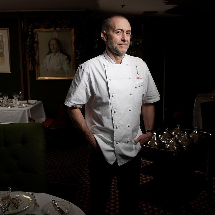 © John Angerson .Michel Roux with Maitre d'- Silvano Giraldo and wine waiter Lucie Graziadei and comie waiter Maxime Aractingi at The Gavroche