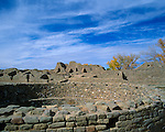 Aztec Ruins National Monument, NM<br /> Walls of circular Plaza kiva and pueblo ruins