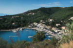 Greece, Corfu, Agios Stefanos: View over harbour and holiday village on Islands North East coast