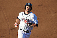 Syracuse Chiefs right fielder Caleb Ramsey (28) running the bases during a game against the Louisville Bats on June 6, 2016 at NBT Bank Stadium in Syracuse, New York.  Syracuse defeated Louisville 3-1.  (Mike Janes/Four Seam Images)