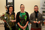 Sinead McCourt presents volunteers Gemma Johnson and Stephen Harrison with awards at the Boyne Garda Youth Project Awards in the Holy Family Community Centre...Photo NEWSFILE/Jenny Matthews..(Photo credit should read Jenny Matthews/NEWSFILE)