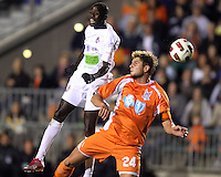 Brad Rusin 324 Of the Carolina Railhawks loses a header to Kendall Jagdeosingh #10 of the Puerto Rico Islanders during the second leg of the USSF-D2 championship match at WakeMed Soccer Park, in Cary, North Carolina on October 30 2010.