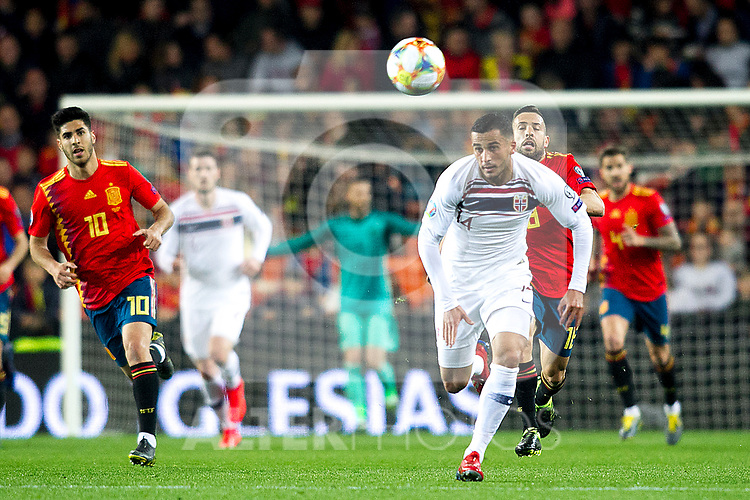 Spain's Marco Asensio, Norway's Omar Elabdellaoui and Spain's Jordi Alba  during the qualifying match for Euro 2020 on 23th March, 2019 in Valencia, Spain. (ALTERPHOTOS/Alconada)