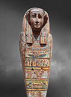 Ancient Egyptian wooden sarcophagus - the tomb of Tagiaset, Iuefdi & Harwa circa 25nd Dynasty (7th cent BC.) Thebes. Egyptian Museum, Turin. Grey background.<br /> <br /> Possibly the sarcophagus of the daughter of Tagiaset. There is a depiction of a wesekh collar around the neck.
