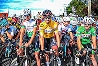 Joe Cooper (centre, yellow jersey) before the start of stage five of the NZ Cycle Classic UCI Oceania Tour in Masterton, New Zealand on Tuesday, 26 January 2017. Photo: Dave Lintott / lintottphoto.co.nz