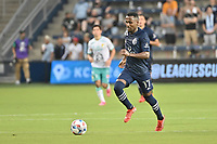 KANSAS CITY, KS - AUGUST 10: Gadi Kinda #17 Sporting KC with the ball during a game between Club Leon and Sporting Kansas City at Children's Mercy Park on August 10, 2021 in Kansas City, Kansas.