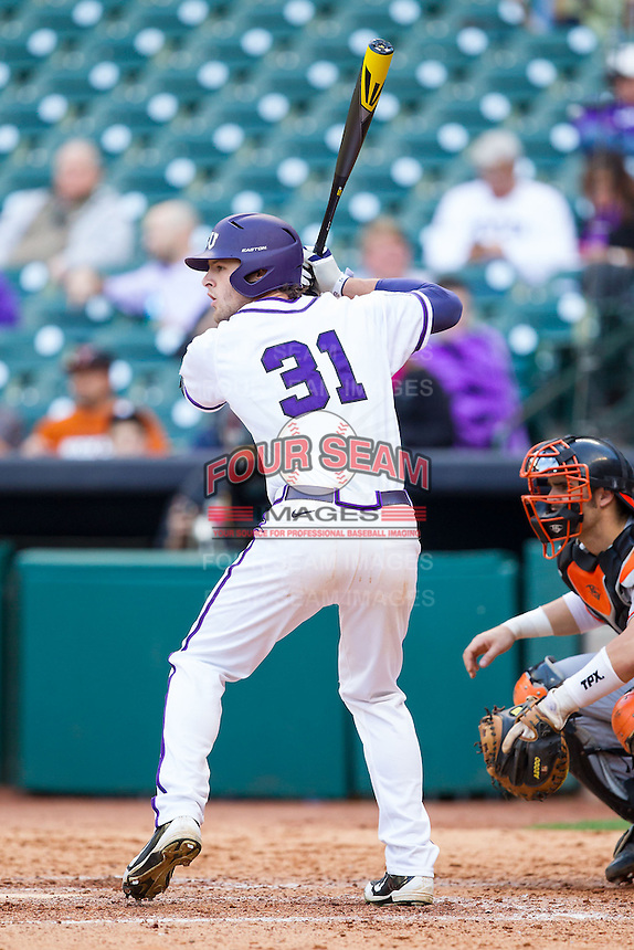 Jerrick Suiter #31 of the Texas Christian Horned Frogs at bat against the Sam Houston State Bearkats at Minute Maid Park on February 28, 2014 in Houston, Texas.  The Bearkats defeated the Horned Frogs 9-4.  (Brian Westerholt/Four Seam Images)