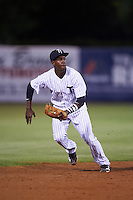 Tampa Yankees shortstop Jorge Mateo (14) attempts to field a ground ball base hit during a game against the Lakeland Flying Tigers on April 8, 2016 at George M. Steinbrenner Field in Tampa, Florida.  Tampa defeated Lakeland 7-1.  (Mike Janes/Four Seam Images)
