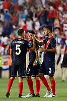 Harrison, NJ - Friday July 07, 2017: Kenner Gutiérrez, Johnny Acosta, Giancarlo González during a 2017 CONCACAF Gold Cup Group A match between the men's national teams of Honduras (HON) vs Costa Rica (CRC) at Red Bull Arena.