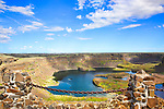 Dry Falls, a 3.5 mile long historic geologic precipice created by past flooding in the Columbia River Basin.