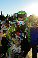 Nov. 11, 2012; Pomona, CA, USA: NHRA funny car driver Jack Beckman after clinching the 2012 championship during the Auto Club Finals at at Auto Club Raceway at Pomona. Mandatory Credit: Mark J. Rebilas-