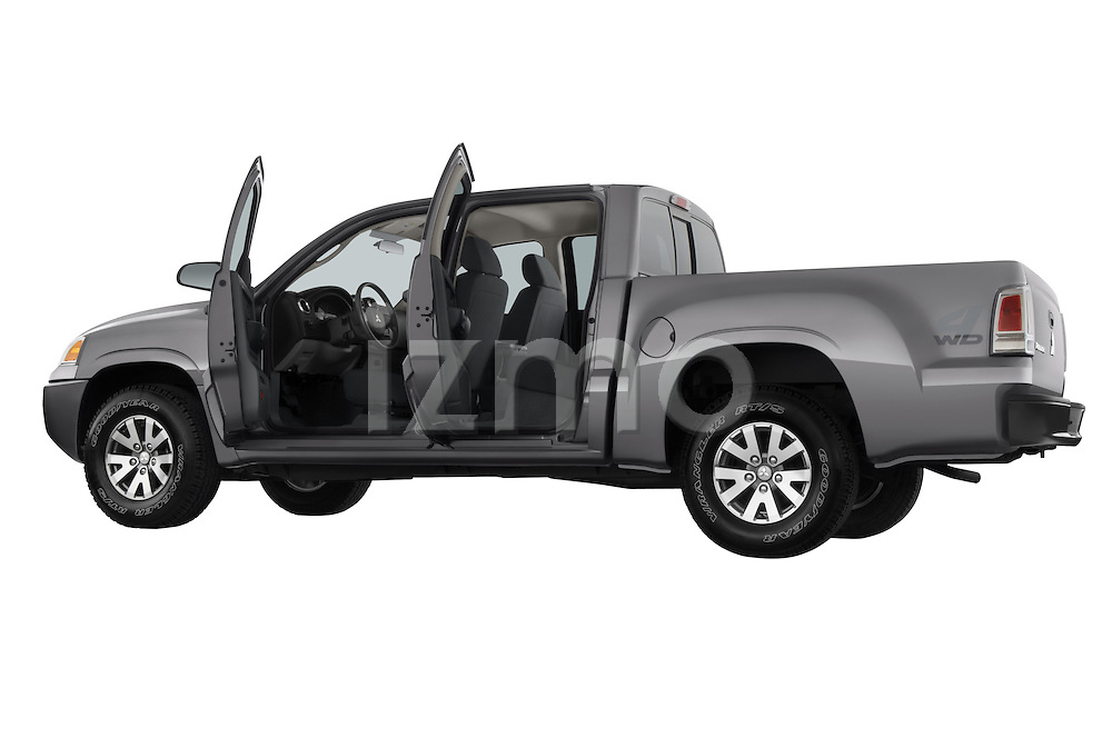 Low angle rear angular view of a 2008 Mitsubishi Raider pickup truck with all doors open