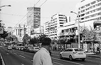 Belgrado, zona centro, via Kneza Milosa. Visibile il palazzo del Ministero della Difesa danneggiato dai bombardamenti NATO durante la guerra del Kosovo nel 1999--- Belgrade, downtown, Knez Milos Street. The damage of 1999 NATO bombardment on the Yugoslav Ministry of Defence building
