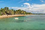 The crystal clear waters of the capital Funafuti in Tuvalu.