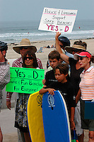 The pro-alocohol-ban group Safe Beaches holds a rally and press conference in Mission Beach Friday, August 29th 2008.  Residents, business owners and propertiy owners took turns to speak about the alcohol ban and the positively impacted they feel it has had on the area while supporters stood behind them holding signs supporting Prop D that would make the temporary, 12-month ban permanent.
