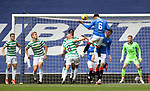 02.05.2121 Rangers v Celtic: Connor Goldson's header cleared off the line by Odsonne Edouard