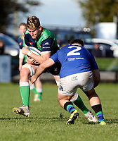 Saturday 10th October 2020 | Ballynahinch vs Queens<br /> <br /> Joe Dunleavy is tackled by Alexander Clarke during the Energia Community Series clash between Ballynahinch and Queens at Ballymacarn Park, Ballynahinch, County Down, Northern Ireland. Photo by John Dickson / Dicksondigital
