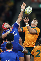 13th July 2021; AAMI Park, Melbourne, Victoria, Australia; International test rugby, Australia versus France; Gaetan Barlot of France competes for the ball with Tom Banks of Australia