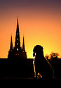02/11/18<br /> <br /> Ahead of a cold night springer spaniel, Chester, watches as the setting sun shines through the central spire of Lichfield Cathedral, and is reflected in Stowe Pool.<br /> <br /> The Staffordshire medieval cathedral  is the only English cathedral with three spires. The three spires are often referred to as 'the Ladies of the Vale'.<br /> <br /> <br /> <br /> <br /> All Rights Reserved, F Stop Press Ltd. (0)1335 344240 +44 (0)7765 242650  www.fstoppress.com rod@fstoppress.com