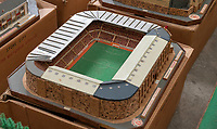 BNPS.co.uk (01202 558833)<br /> Pic: Zachary Culpin/BNPS<br /> <br /> Pictured: Old Trafford home to Man United<br /> <br /> An incredible collection of model football stadiums handmade by a soccer fan have sold for almost £19,000 after being found in a storage unit.<br /> <br /> Model-maker John Le Maitre created miniature versions of all 92 English Football League club grounds from the 1980s, as well as the old Wembley Stadium.<br /> <br /> They featured on a Blue Peter episode that year and are a throwback to a bygone age when football grounds with their banks of terraces looked very different to today's super stadiums.