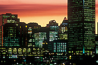 Night skyline viewed from inner harbour.  Vancouver, BC, Canada