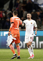Calcio, Serie A: Inter - Roma, Milano, stadio Giuseppe Meazza (San Siro), 21 gennaio 2018.<br /> Inter's goalkeeper Samir Handanovic greets Roma's Aleksandar Kolarov (r) at the end of the Italian Serie A football match between Inter Milan and AS Roma at Giuseppe Meazza (San Siro) stadium, January 21, 2018.<br /> Inter Milan and AS Roma drawns 1-1.<br /> UPDATE IMAGES PRESS/Isabella Bonotto